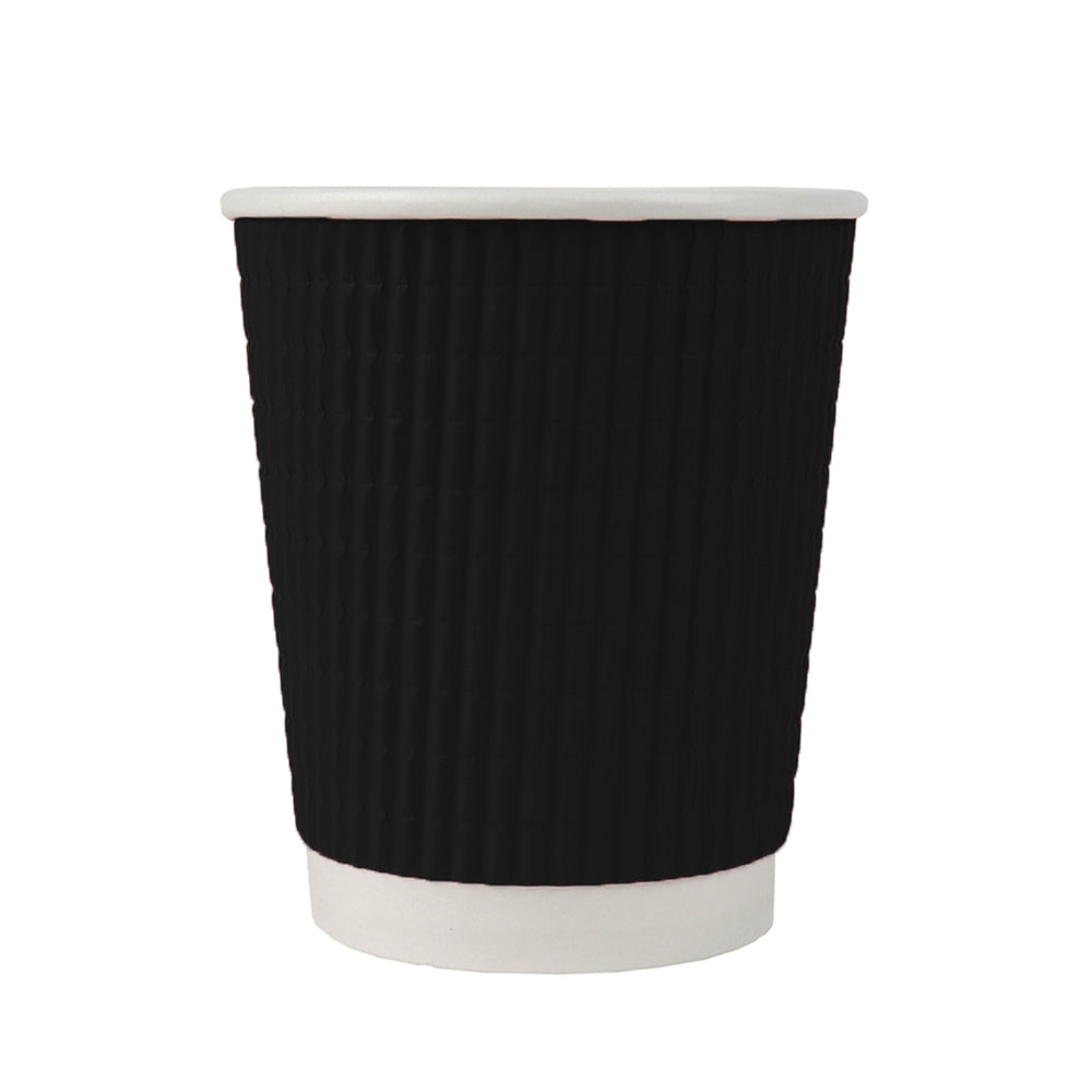 UNIQ® 8 oz Ripple Black Double Wall Paper Cup