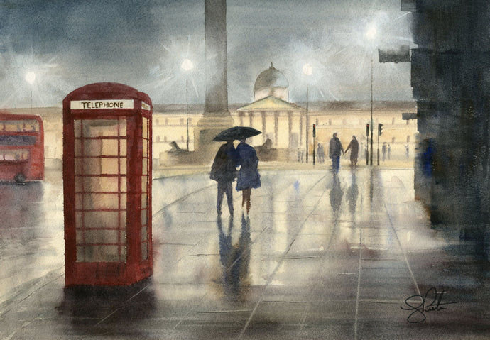 London painting telephone box trafalgar square