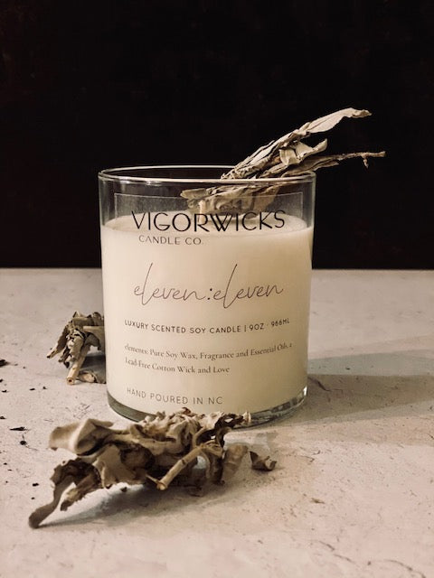 eleven:eleven Soy Wax Candle + Sage Stick