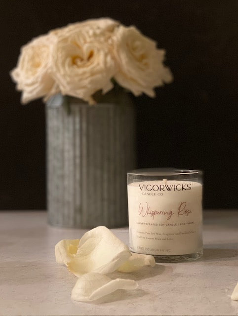 Whispering Rose Soy Wax Candle | VigorWicks