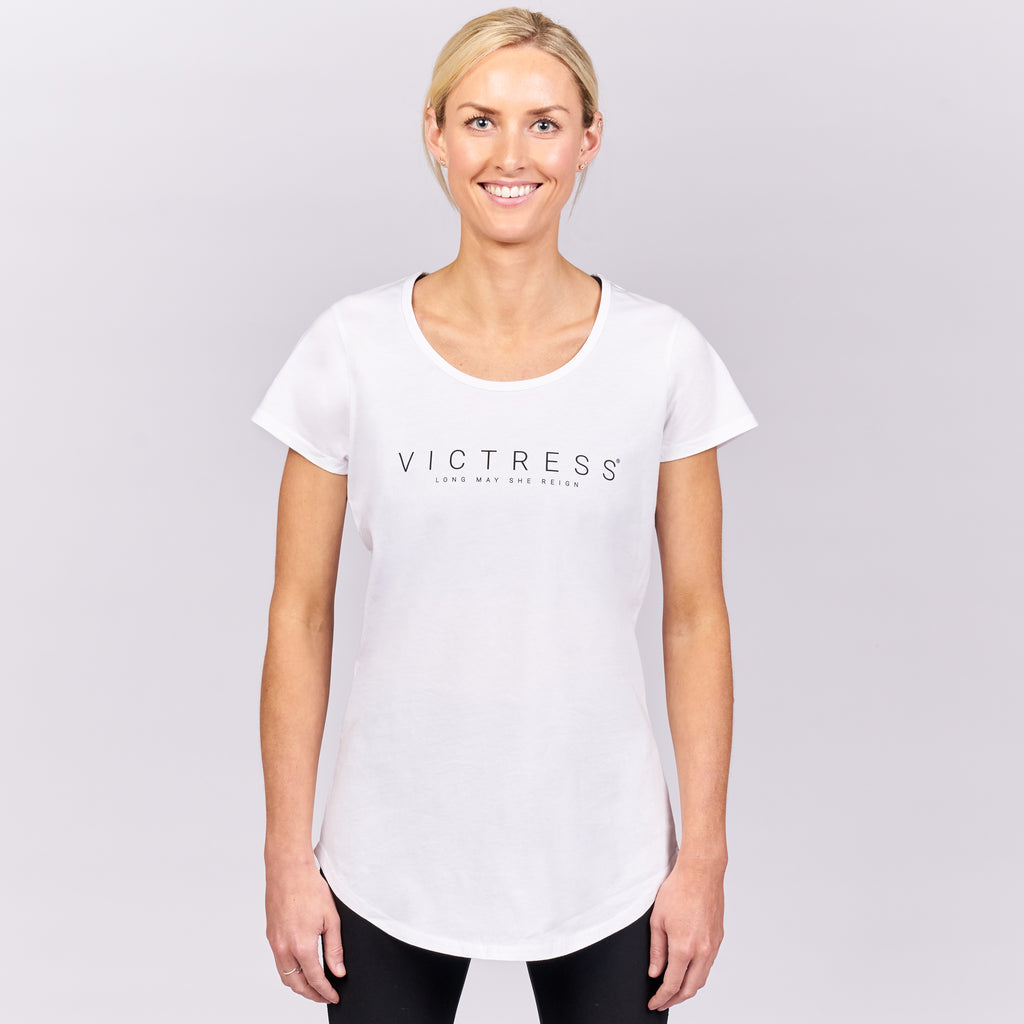 VICTRESS LMSR SCOOP NECK TEE - WHITE