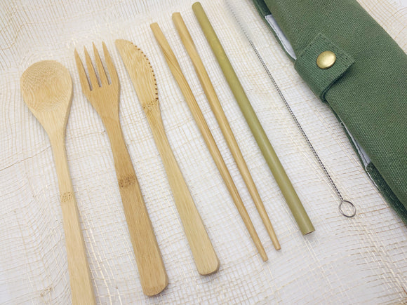 7-pc Bamboo Cutlery Set with Pouch