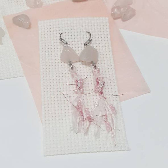Rose Quartz Frills Dangling Earrings