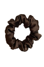Load image into Gallery viewer, Natural silk scrunchie Chocolate Brown, M size