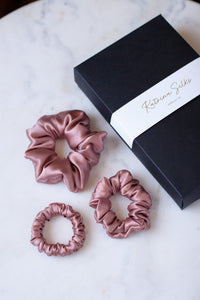 Natural silk scrunchie Powder Rose, set of three
