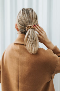 Natural silk scrunchie Golden Palm