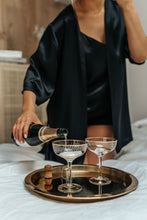 Load image into Gallery viewer, Set of 3 - natural silk top, shorts & robe Black Night