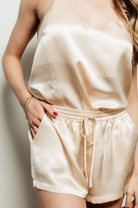 Set of 2 - natural silk top & shorts Cappuccino Beige