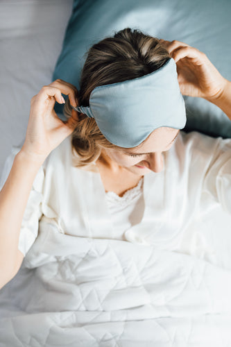 Natural silk eye mask and scrunchies Misty Blue. Photographer Lucija Rosane