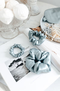Set of 3 - natural silk scrunchie Misty Blue