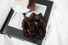 Load image into Gallery viewer, Natural silk scrunchie Chocolate Brown
