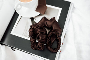 Set of 3 - natural silk scrunchie Chocolate brown