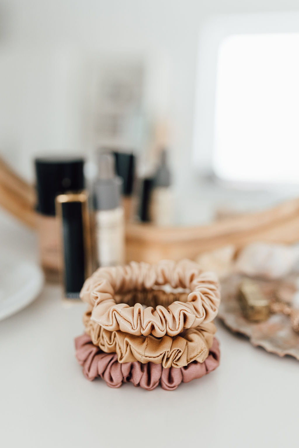 Set of 3 S size natural silk scrunchies - cappuccino beige, powder rose & golden palm