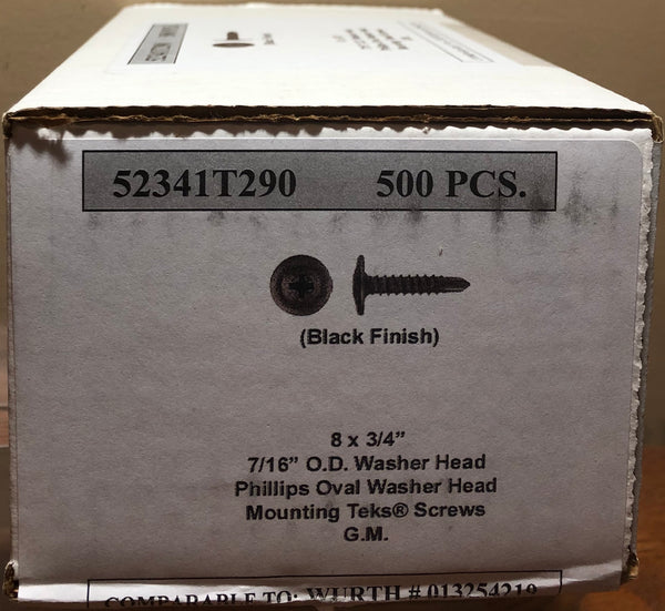 "8 X 3/4"" Phillips Oval Washer Head Mounting Teks Screws (Box of 500)"