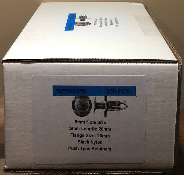 8mm Hole Size 20mm Stem 20mm Flange Push Type Retainers (Box of 250)