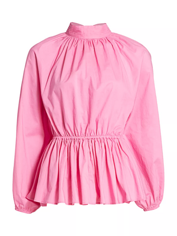 Pink Open-Back Peplum Top