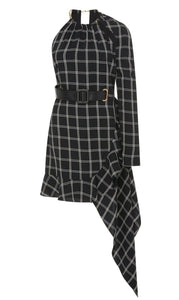 Belted Asymmetrical Checkered Mini Dress
