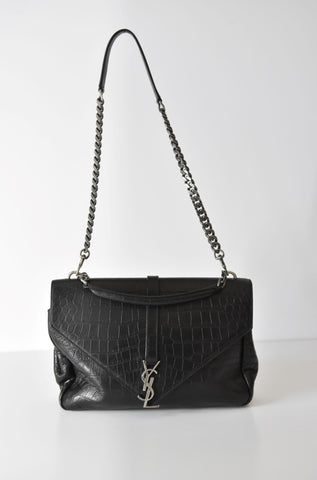 Monogram College Crocodile-Embossed Shoulder Bag