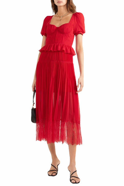 Lace-trimmed pleated midi dress