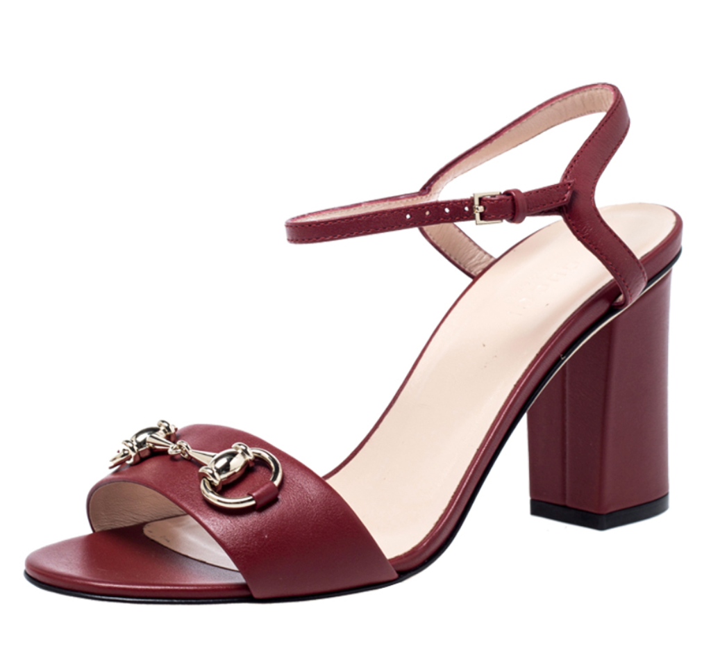 Burgundy Calfskin Horsebit Sandals