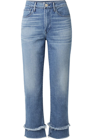 'Petal' Frayed High-Rise Jeans