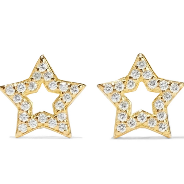 Open Star 18-Karat Gold Vermeil Crystal Earrings