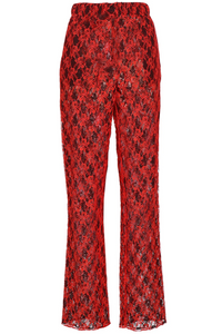 Red Lace Straight Leg Pants
