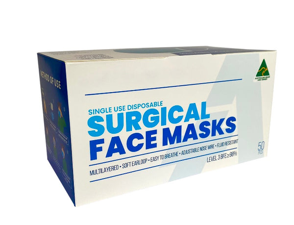 Australian Made 4 Ply Level 3 Surgical Face masks -On Special $29 for a box of 50
