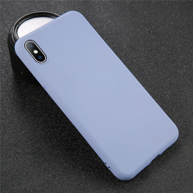 USLION Silicone Solid Color Case for iPhone XS 11 Pro MAX XR X XS Max Candy Phone Cases for iPhone 11 7 6 6S 8 Plus Soft Cover - Global Mobile