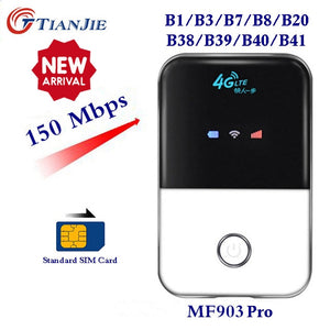 TIANJIE 4G Wifi Router mini router 3G 4G Lte Wireless Portable Pocket wi fi Mobile Hotspot Car Wi-fi Router With Sim Card Slot - Global Mobile