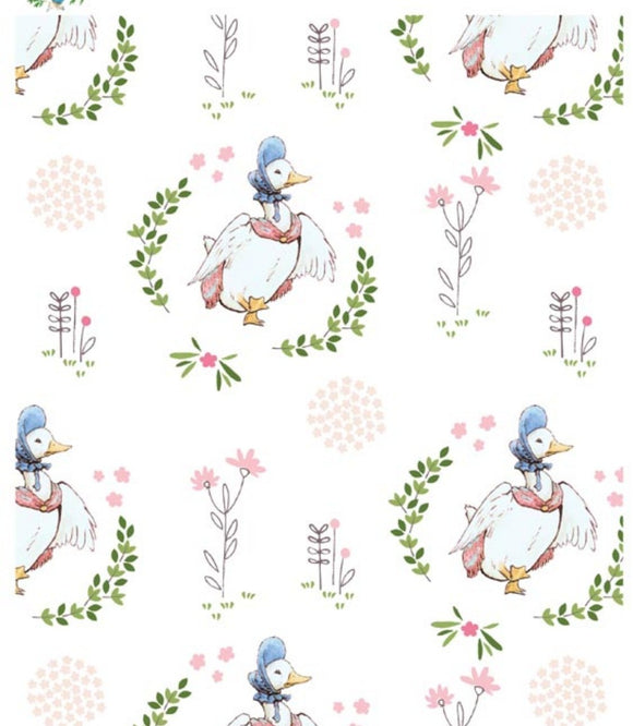 Jemima Puddleduck Children's Cotton Fabric Yardage Peter Rabbit Fabric White Yellow Blue Green Pink Digitally Printed