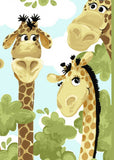 Zoe The Giraffe Children's Fabric Play Mat from Susybee 36 x 43 inches colors of green blue yellow gold brown