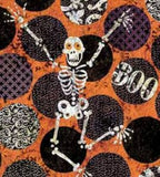 Skeleton Dot Halloween Cotton Fabric from Springs Creative 44-45 Inches Wide skeletons and scary words orange black white purple