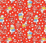 Storybook Children's Reproduction Fabric Alice In Wonderland 44 Inches Wide Cotton Red Blue Yellow White Black