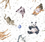Love Is Children's Fabric Cotton Fabric Collection  Multi Animals Tossed colors white gray brown black blue yellow