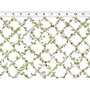 Garden Party Children's Fabric Yardage Diagonal Strawberry Vines White Green Red 44 Inches Wide