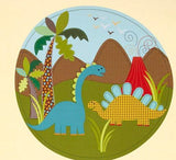 Michael Miller Dinosaur Children's Fabric Panel 23 x 44 Inches Blue Green Brown Red Gold Colors