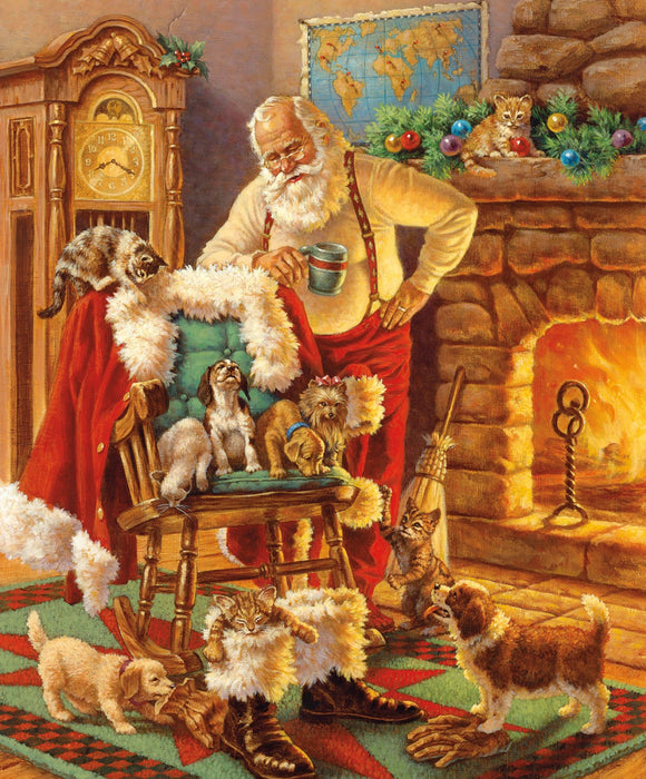A Christmas Classic Fabric Panel Santa and Friends Dogs and Santa in front of fireplace colors of red gold brown green 36 x 44 inches from Riley Blake