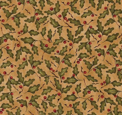 A Year To Crow About Holiday Cotton Fabric from Red Rooster Fabrics Colors in tan green cranberry