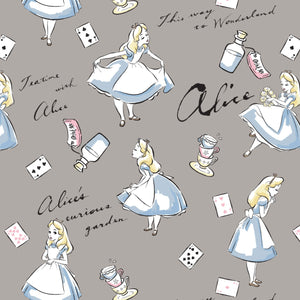 Alice In Wonderland Gray Cotton Flannel 43 Inches Wide Gray White Pink Blue White Black