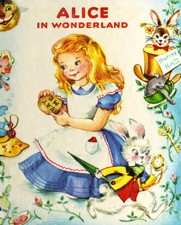 Vintage Storybook Alice In Wonderland Children's Fabric Panel 36 x 44 Inches