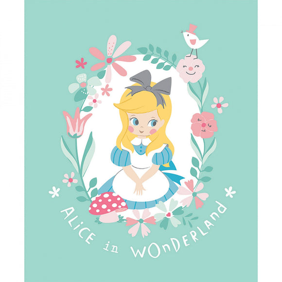 Alice In Wonderland Children's Storybook Fabric Panel 35 x 44 Inches from Camelot Green Yellow Gray Pink Blue