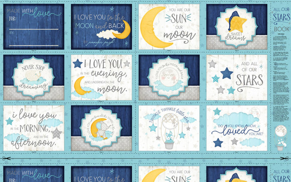 All Our Stars Children's Book Panel.  Quality cotton fabric panel colors includes shades of blue, yellow and white.