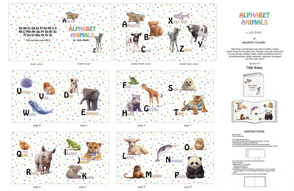 Alphabet Animal Children's Cloth Book Panel To Sew from Elizabeth Studios Various Animals with polka dot background in primary colors