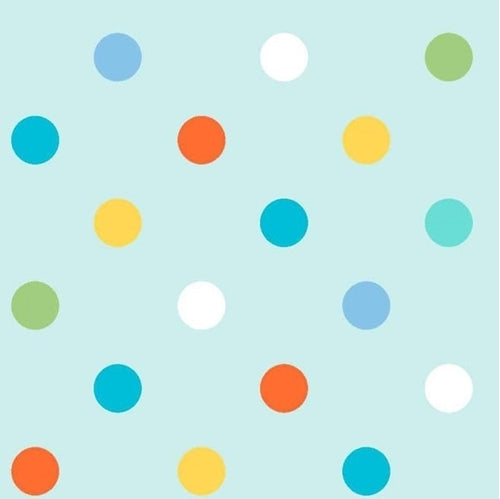 Alphabet Zoo Children's Multi Dot Children's Cotton Fabric Yardage Colors of Blue Green Gold White Orange