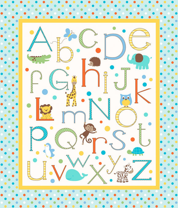 Alphabet Zoo Children's Fabric Panel 36 x 45 Inches features  shades of blue, yellow, rust and green colors featuring zoo animals