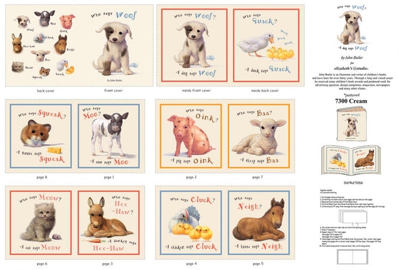 Animal Friends Farm Animal Children's Cloth Book Panel To Sew 12 pages with Pigs, Dogs, Horse, Donkey And Much More