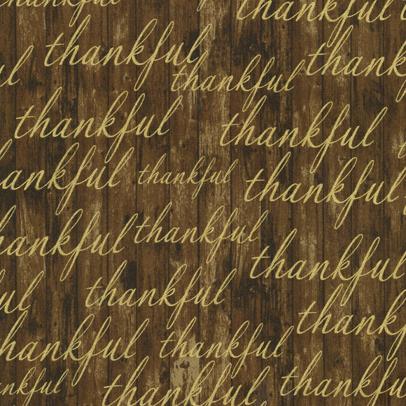 Autumn Beauties Fall Fabric Collection from Robert Kaufman Brown Background with gold metallic thankful words cotton 44 inches wide