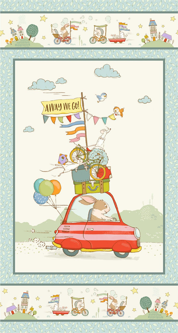 Away We Go Children's Fabric Panel from Michael Miller 24 x 44 Inches Bunny Driving Car Ready for Vacation Colors of Blue Red Pink Green Yellow