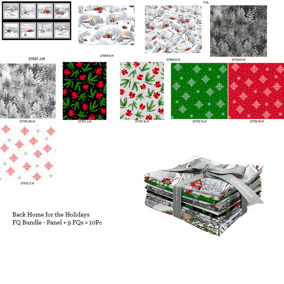 Back Home For The Holidays Christmas Holiday Theme Fat Quarter Bundle from Quilting Treasures 9 fat quarters colors in red gray black green white black